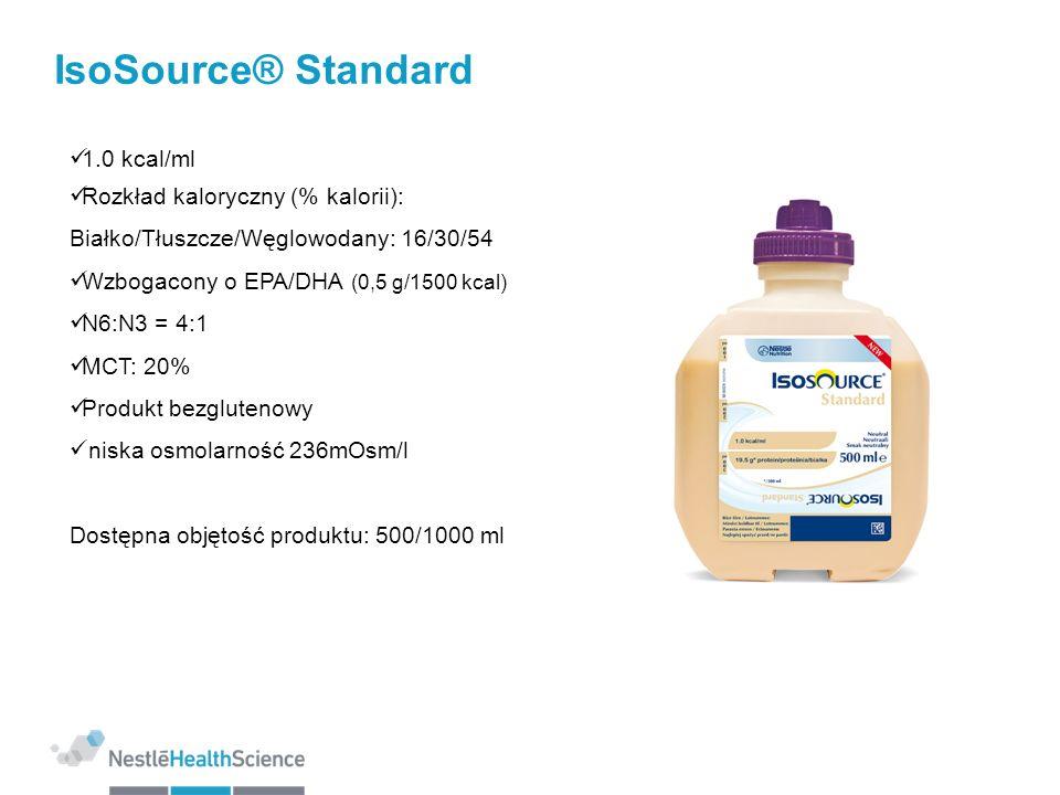IsoSource® Standard 1.0 kcal/ml Rozkład kaloryczny (% kalorii): Białko/Tłuszcze/Węglowodany: 16/30/54 Wzbogacony o EPA/DHA (0,5 g/1500 kcal) N6:N3 = 4