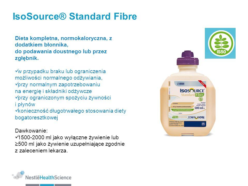IsoSource® Standard Fibre 1.0 kcal/ml Rozkład kaloryczny (% kalorii): Białko/Tłuszcze/Węglowodany/Błonnik: 15/30/52/3 Wzbogacony o EPA/DHA: 0,5 g/1500 kcal N6:N3 = 4:1 MCT: 20% IS50 - SPECJALNA MIESZANKA BŁONNIKA 50:50 nierozpuszczalnego i rozpuszczalnego(15 g/l) Produkt bezglutenowy Osmolarność 264mOsm/l Dostępna objętość produktu: 1000 ml