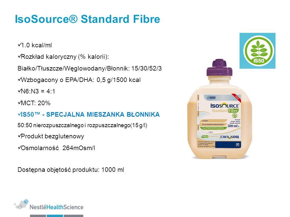 IsoSource® Standard Fibre 1.0 kcal/ml Rozkład kaloryczny (% kalorii): Białko/Tłuszcze/Węglowodany/Błonnik: 15/30/52/3 Wzbogacony o EPA/DHA: 0,5 g/1500