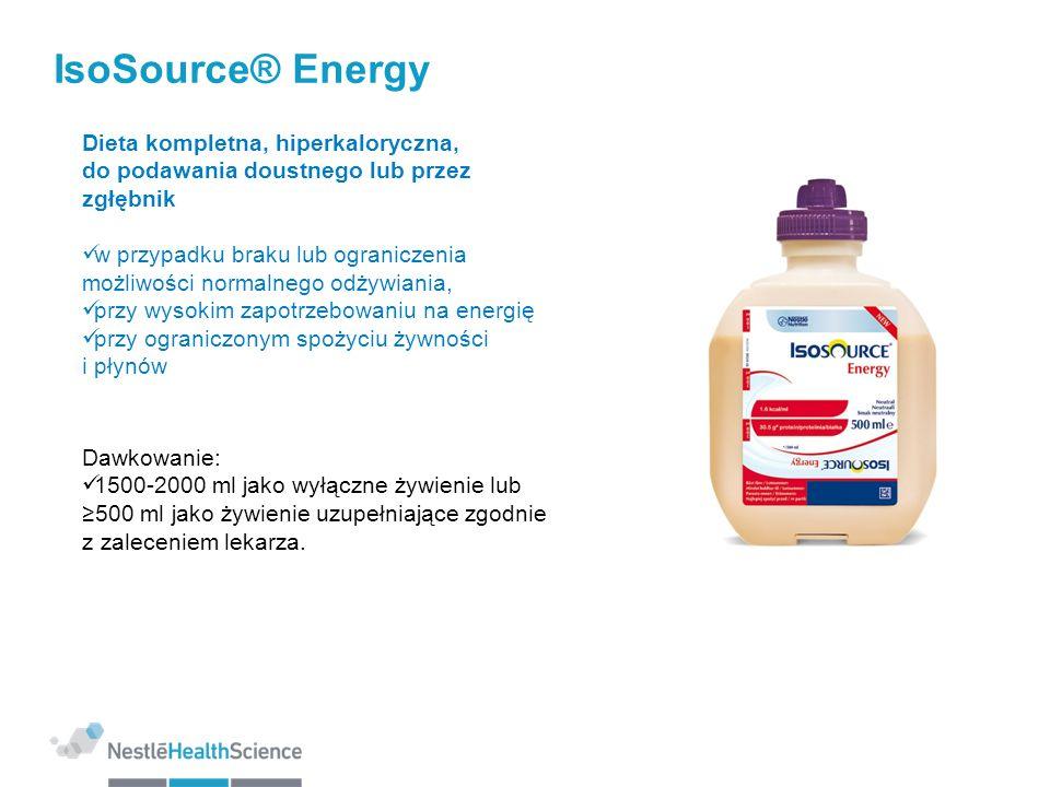 IsoSource® Energy 1.30 kcal/ml Rozkład kaloryczny (% kalorii): Białko/Tłuszcze/Węglowodany: 16/35/49 Wzbogacony o EPA/DHA: 0,5 g/1500 kcal N6:N3 = 4:1 MCT: 20% Produkt bezglutenowy Osmolarność 387 mOsm/l Dostępna objętość produktu: 500 ml
