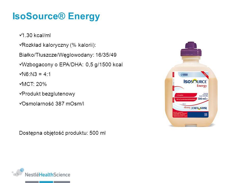 IsoSource® Energy 1.30 kcal/ml Rozkład kaloryczny (% kalorii): Białko/Tłuszcze/Węglowodany: 16/35/49 Wzbogacony o EPA/DHA: 0,5 g/1500 kcal N6:N3 = 4:1
