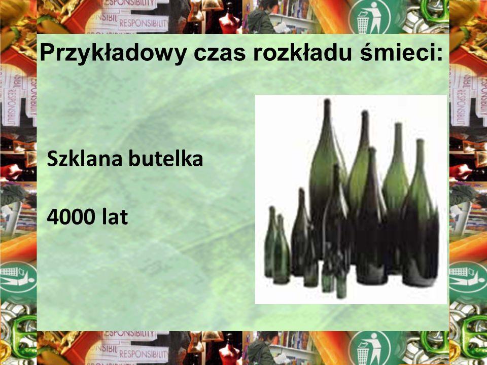 Przykładowy czas rozkładu śmieci: Szklana butelka 4000 lat