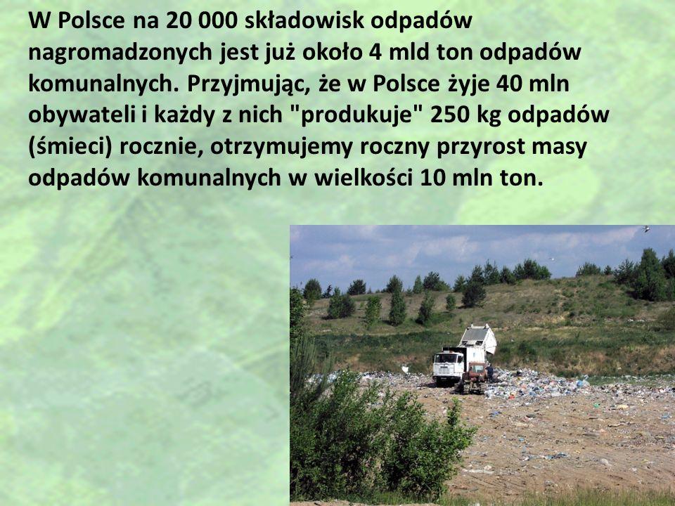 W Polsce na 20 000 składowisk odpadów nagromadzonych jest już około 4 mld ton odpadów komunalnych. Przyjmując, że w Polsce żyje 40 mln obywateli i każ