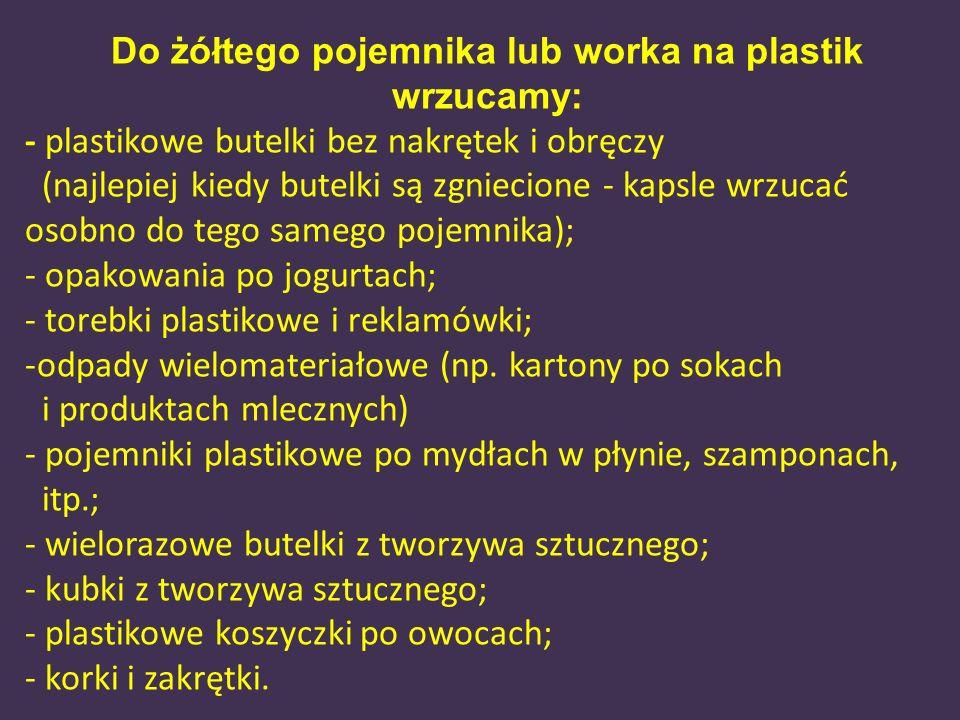 Do żółtego pojemnika lub worka na plastik wrzucamy: - plastikowe butelki bez nakrętek i obręczy (najlepiej kiedy butelki są zgniecione - kapsle wrzuca