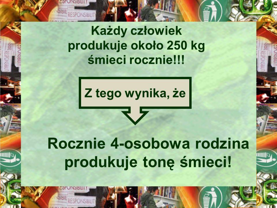 Każdy człowiek produkuje około 250 kg śmieci rocznie!!! Z tego wynika, że Rocznie 4-osobowa rodzina produkuje tonę śmieci!