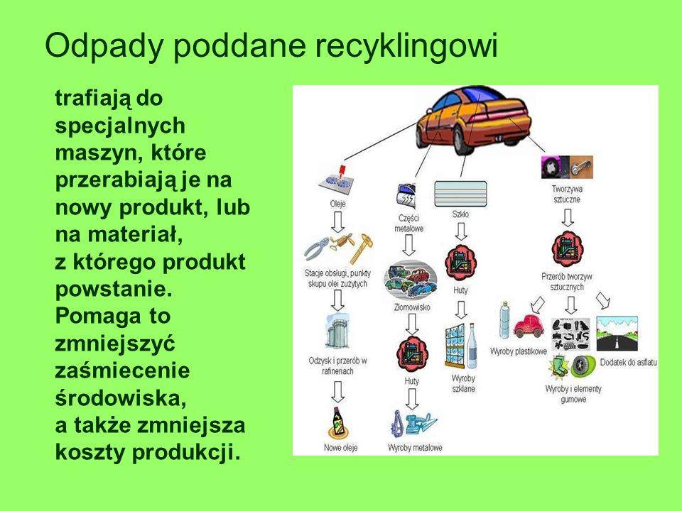 Odpady poddane recyklingowi trafiają do specjalnych maszyn, które przerabiają je na nowy produkt, lub na materiał, z którego produkt powstanie. Pomaga