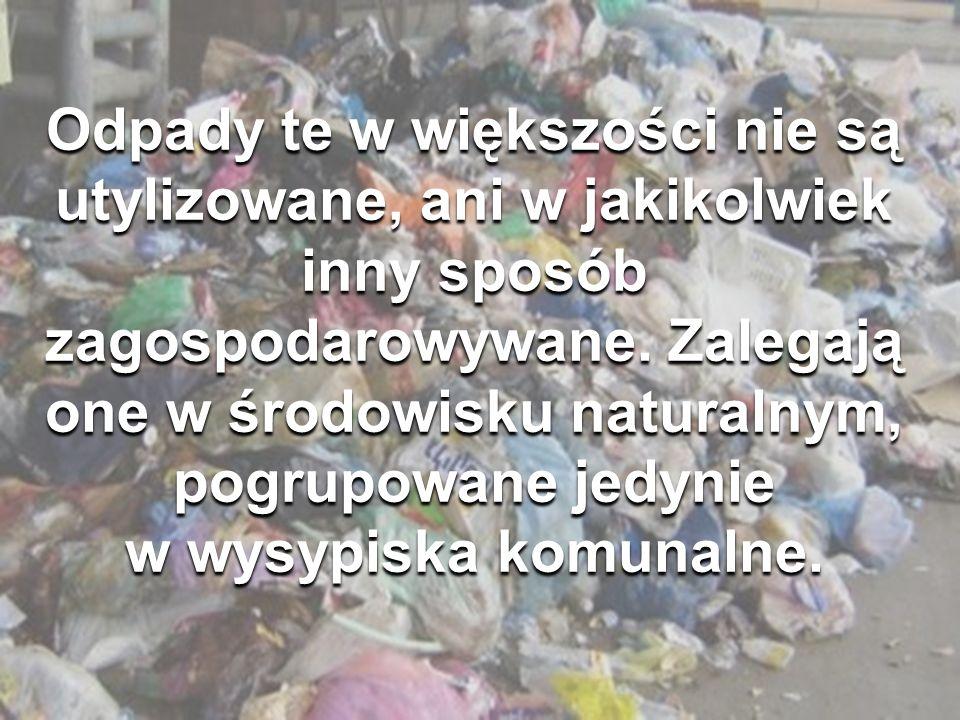 Odpady te w większości nie są utylizowane, ani w jakikolwiek inny sposób zagospodarowywane. Zalegają one w środowisku naturalnym, pogrupowane jedynie