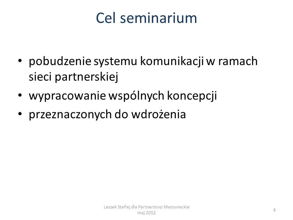Cel seminarium pobudzenie systemu komunikacji w ramach sieci partnerskiej wypracowanie wspólnych koncepcji przeznaczonych do wdrożenia 4 Leszek Stafiej dla Partnerstwo Mazowieckie maj 2012