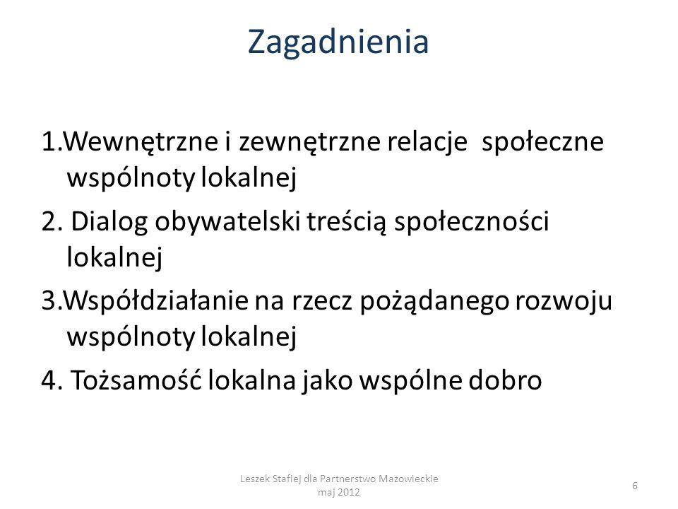 Zagadnienia 1.Wewnętrzne i zewnętrzne relacje społeczne wspólnoty lokalnej 2. Dialog obywatelski treścią społeczności lokalnej 3.Współdziałanie na rze