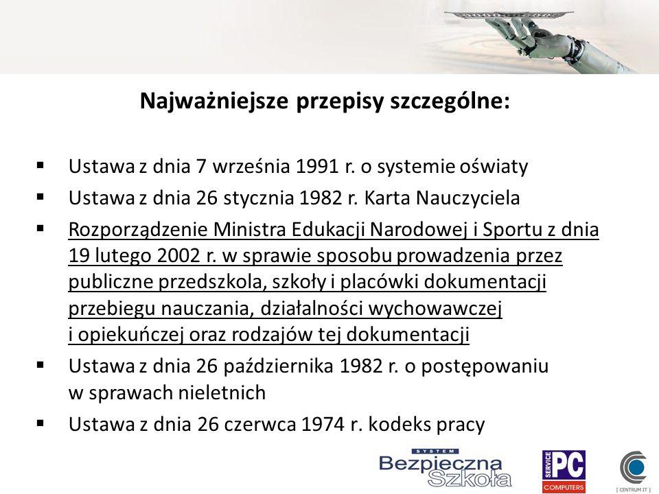 Najważniejsze przepisy szczególne: Ustawa z dnia 7 września 1991 r. o systemie oświaty Ustawa z dnia 26 stycznia 1982 r. Karta Nauczyciela Rozporządze