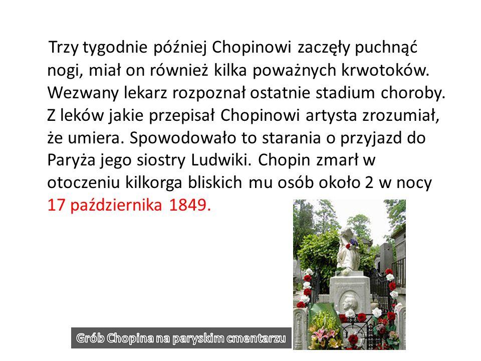 Trzy tygodnie później Chopinowi zaczęły puchnąć nogi, miał on również kilka poważnych krwotoków. Wezwany lekarz rozpoznał ostatnie stadium choroby. Z