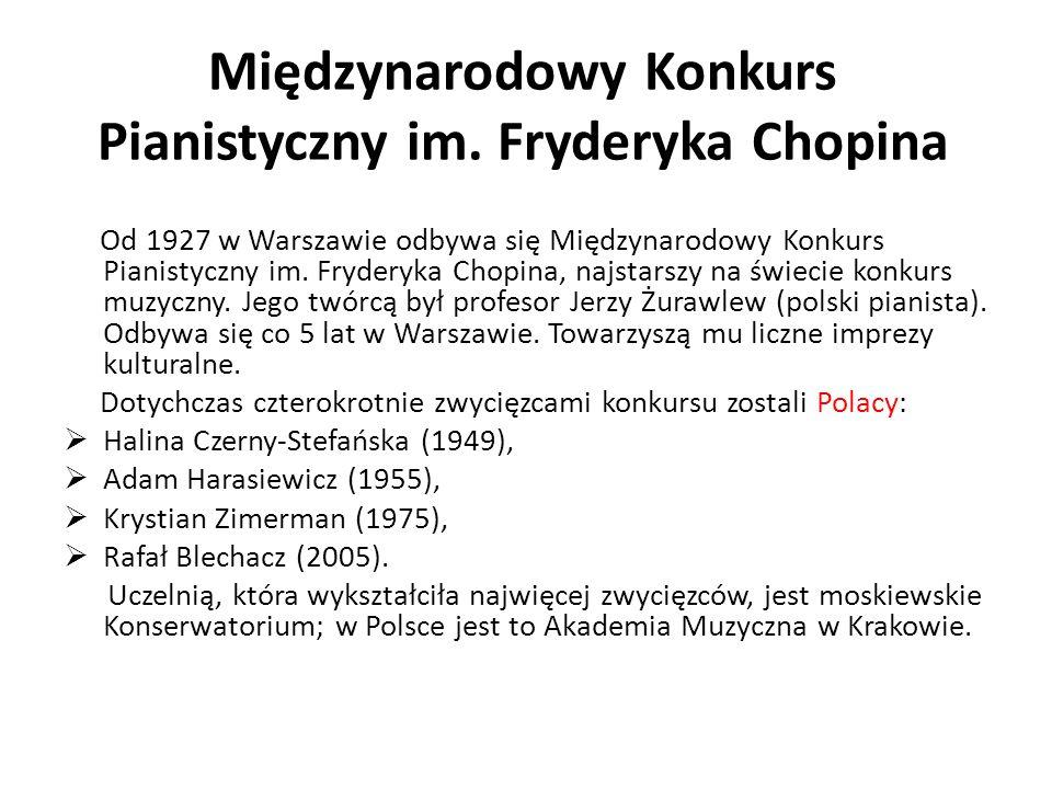 Międzynarodowy Konkurs Pianistyczny im. Fryderyka Chopina Od 1927 w Warszawie odbywa się Międzynarodowy Konkurs Pianistyczny im. Fryderyka Chopina, na