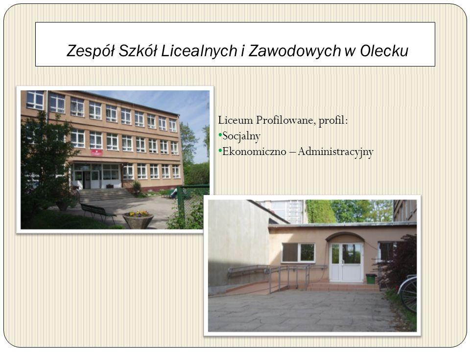 Zespół Szkół Licealnych i Zawodowych w Olecku Liceum Profilowane, profil: Socjalny Ekonomiczno – Administracyjny