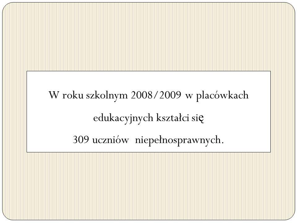 W roku szkolnym 2008/2009 w placówkach edukacyjnych kształci si ę 309 uczniów niepełnosprawnych.