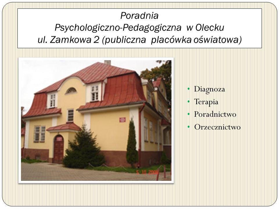 Poradnia Psychologiczno-Pedagogiczna w Olecku ul. Zamkowa 2 (publiczna placówka oświatowa) Diagnoza Terapia Poradnictwo Orzecznictwo