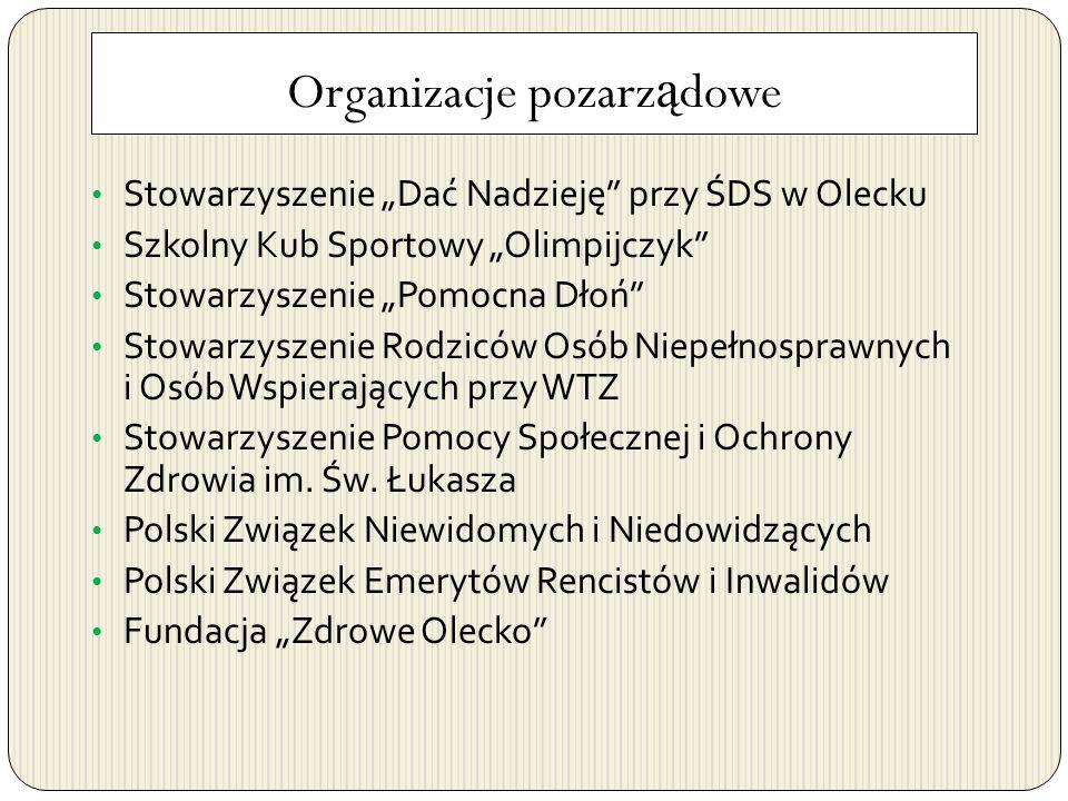 Organizacje pozarz ą dowe Stowarzyszenie Dać Nadzieję przy ŚDS w Olecku Szkolny Kub Sportowy Olimpijczyk Stowarzyszenie Pomocna Dłoń Stowarzyszenie Ro