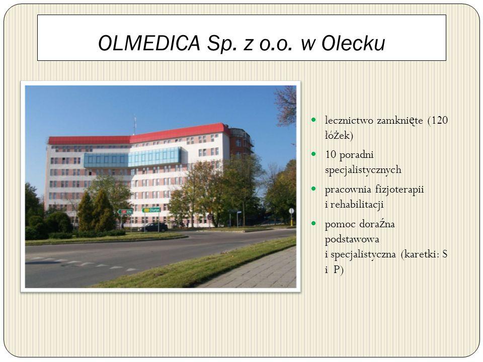 OLMEDICA Sp. z o.o. w Olecku lecznictwo zamkni ę te (120 łó ż ek) 10 poradni specjalistycznych pracownia fizjoterapii i rehabilitacji pomoc dora ź na