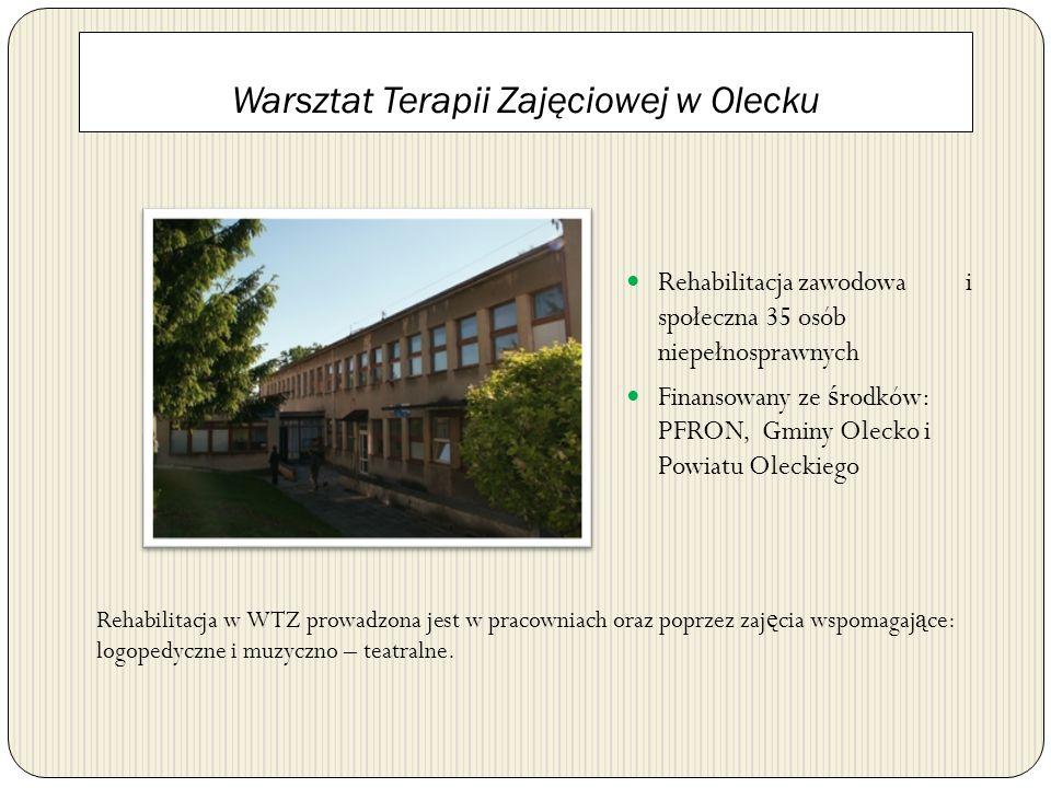 Warsztat Terapii Zajęciowej w Olecku Rehabilitacja zawodowa i społeczna 35 osób niepełnosprawnych Finansowany ze ś rodków: PFRON, Gminy Olecko i Powia