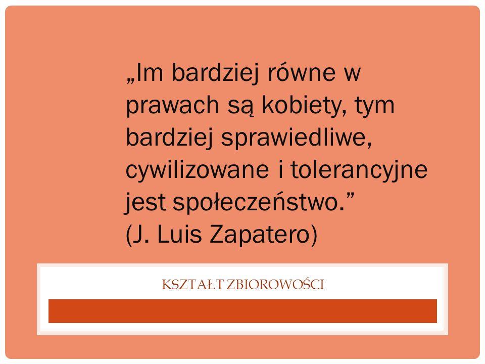 KSZTAŁT ZBIOROWOŚCI Im bardziej równe w prawach są kobiety, tym bardziej sprawiedliwe, cywilizowane i tolerancyjne jest społeczeństwo. (J. Luis Zapate
