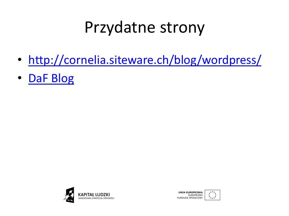 Przydatne strony http://cornelia.siteware.ch/blog/wordpress/ DaF Blog