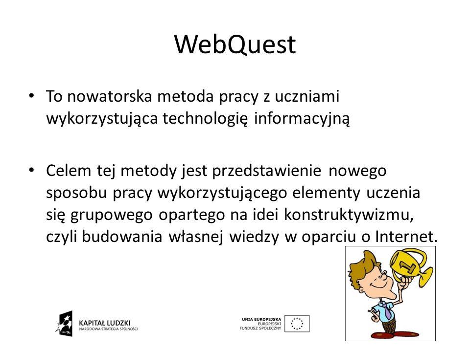 WebQuest To nowatorska metoda pracy z uczniami wykorzystująca technologię informacyjną Celem tej metody jest przedstawienie nowego sposobu pracy wykor