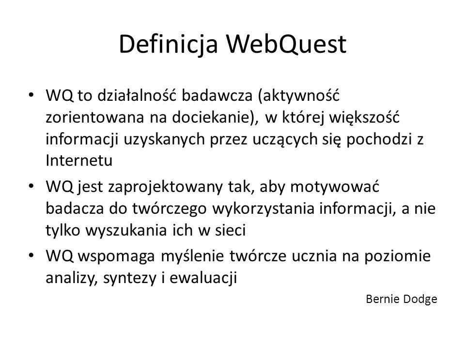 Definicja WebQuest WQ to działalność badawcza (aktywność zorientowana na dociekanie), w której większość informacji uzyskanych przez uczących się poch