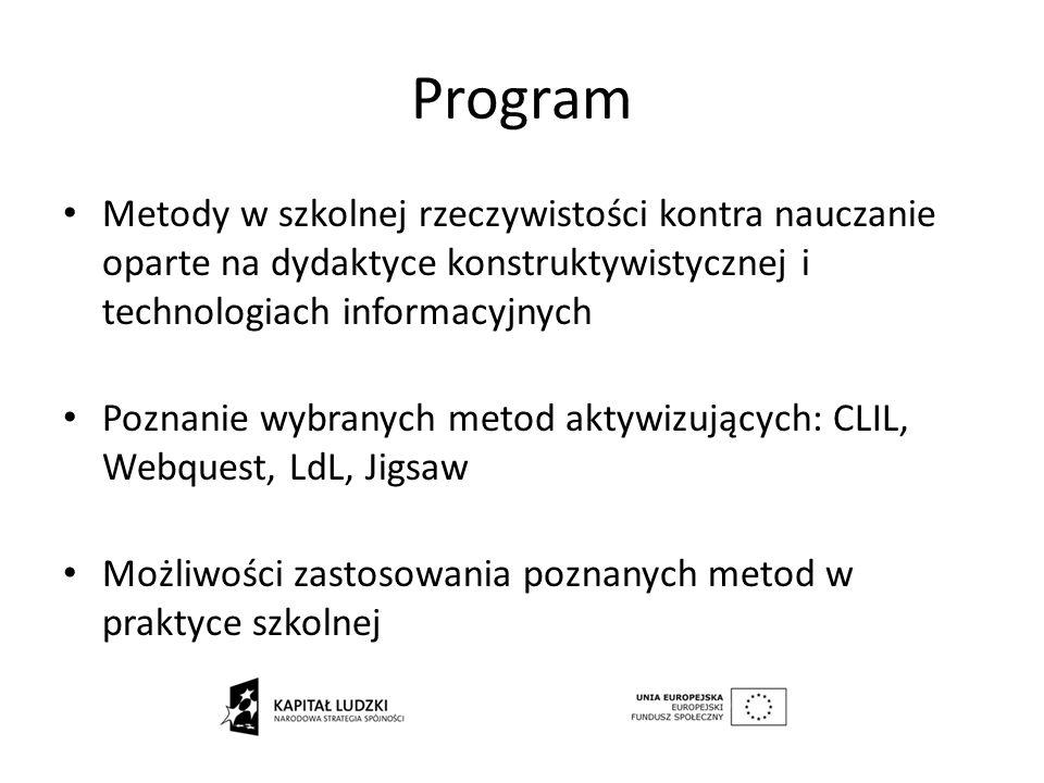 Możliwości realizacji CLIL Team Teaching - nauczanie zespołowe nauczyciela języka i nauczyciela innego przedmiotu nauczyciel języka obcego uczy przedmiotu innego niż językowy (kwalifikacje) uczenie elementów innych przedmiotów przez nauczyciela języka obcego na lekcjach języka obcego