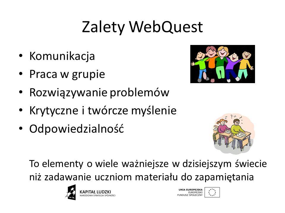 Zalety WebQuest Komunikacja Praca w grupie Rozwiązywanie problemów Krytyczne i twórcze myślenie Odpowiedzialność To elementy o wiele ważniejsze w dzis
