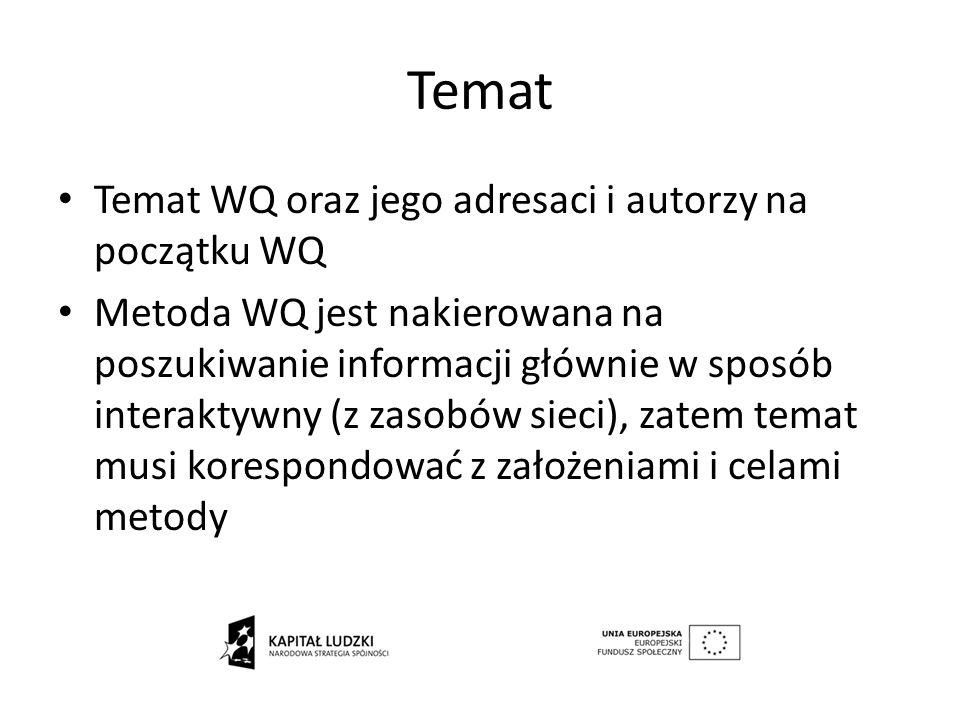 Temat Temat WQ oraz jego adresaci i autorzy na początku WQ Metoda WQ jest nakierowana na poszukiwanie informacji głównie w sposób interaktywny (z zaso
