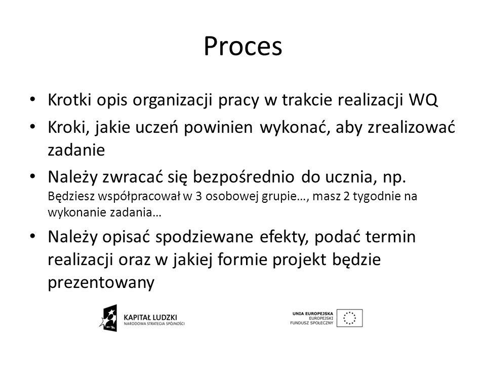 Proces Krotki opis organizacji pracy w trakcie realizacji WQ Kroki, jakie uczeń powinien wykonać, aby zrealizować zadanie Należy zwracać się bezpośred