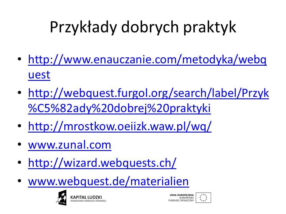 Przykłady dobrych praktyk http://www.enauczanie.com/metodyka/webq uest http://www.enauczanie.com/metodyka/webq uest http://webquest.furgol.org/search/