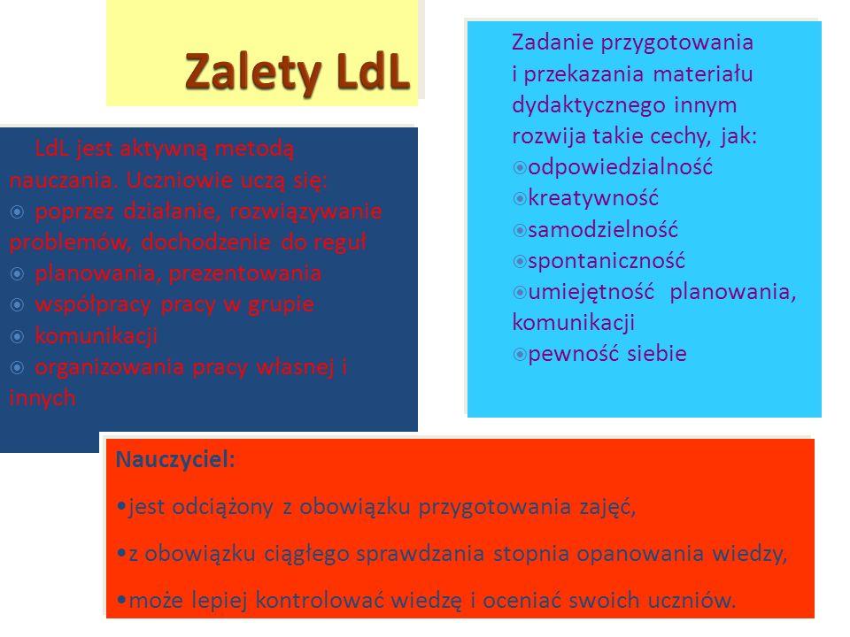 LdL jest aktywną metodą nauczania. Uczniowie uczą się: poprzez działanie, rozwiązywanie problemów, dochodzenie do reguł planowania, prezentowania wspó