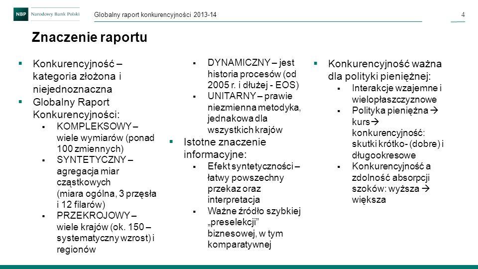 4 Globalny raport konkurencyjności 2013-14 Znaczenie raportu DYNAMICZNY – jest historia procesów (od 2005 r. i dłużej - EOS) UNITARNY – prawie niezmie