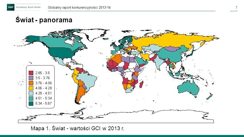 7 Globalny raport konkurencyjności 2013-14 Świat - panorama Mapa 1. Świat - wartości GCI w 2013 r.