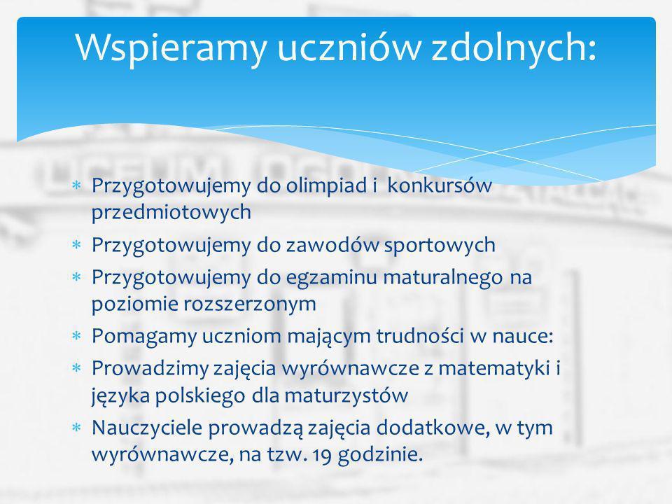 Przygotowujemy do olimpiad i konkursów przedmiotowych Przygotowujemy do zawodów sportowych Przygotowujemy do egzaminu maturalnego na poziomie rozszerz