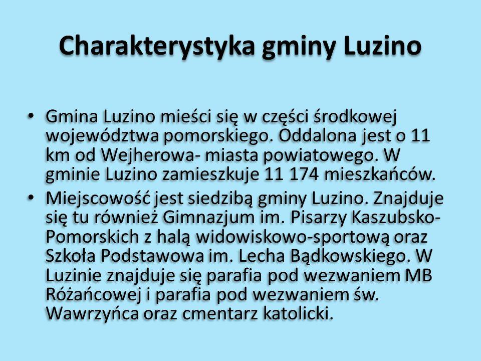 Charakterystyka gminy Luzino Gmina Luzino mieści się w części środkowej województwa pomorskiego. Oddalona jest o 11 km od Wejherowa- miasta powiatoweg