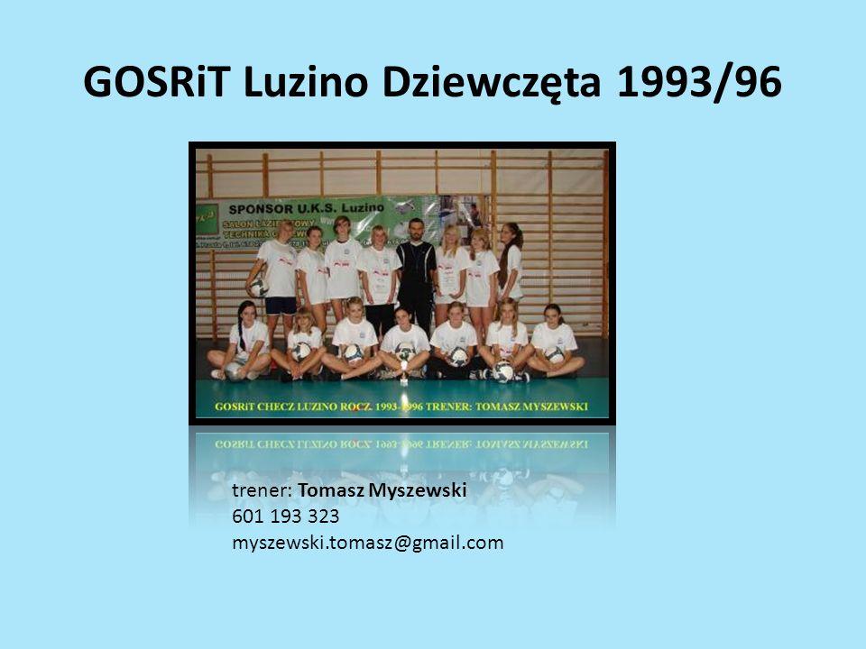 GOSRiT Luzino Dziewczęta 1993/96 trener: Tomasz Myszewski 601 193 323 myszewski.tomasz@gmail.com