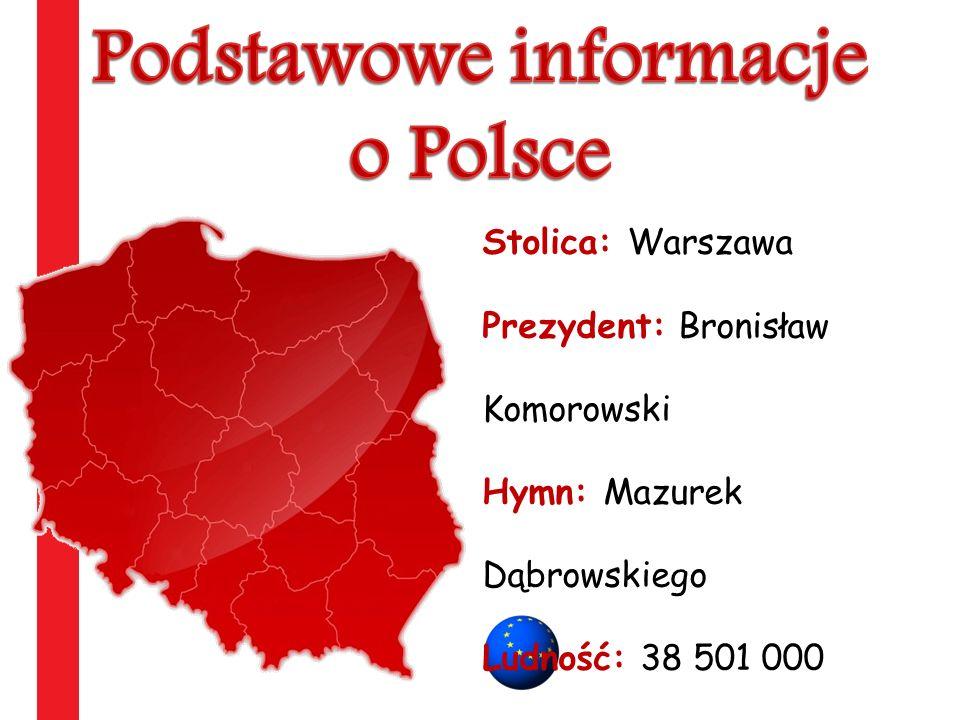 Stolica: Warszawa Prezydent: Bronisław Komorowski Hymn: Mazurek Dąbrowskiego Ludność: 38 501 000 Powierzchnia: 312 679 km2 Wstąpienie do UE 1 maja 200