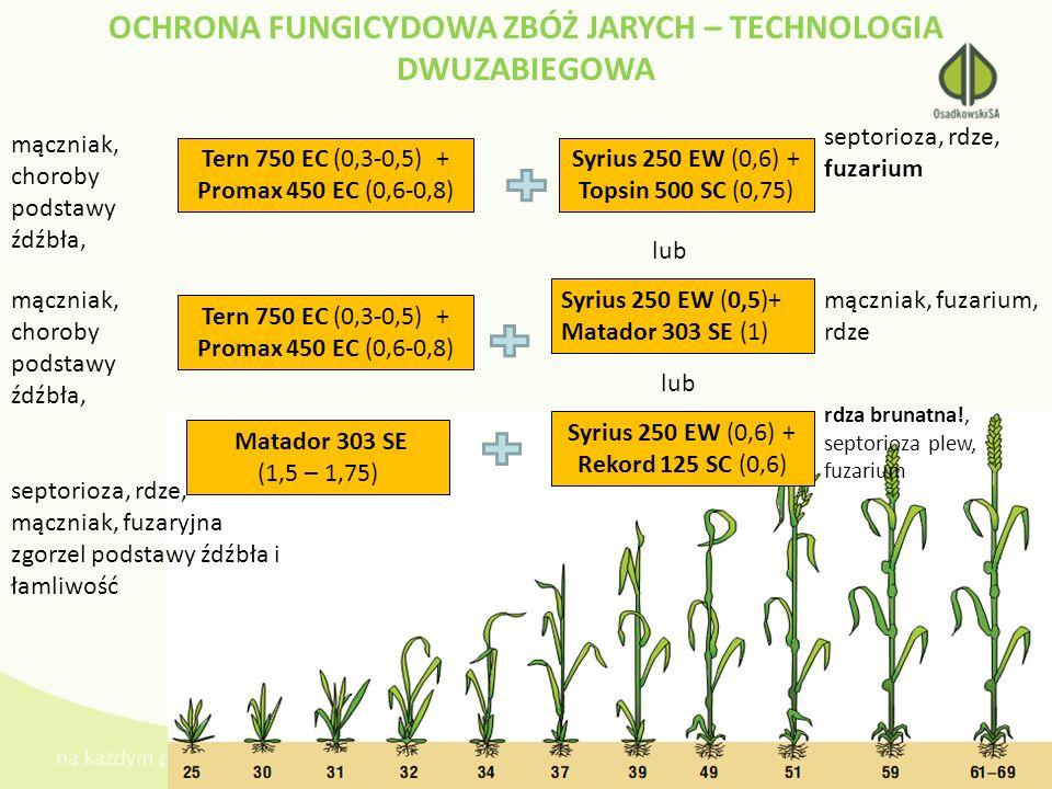 OCHRONA FUNGICYDOWA ZBÓŻ JARYCH – TECHNOLOGIA DWUZABIEGOWA Tern 750 EC (0,3-0,5) + Promax 450 EC (0,6-0,8) Syrius 250 EW (0,6) + Topsin 500 SC (0,75)