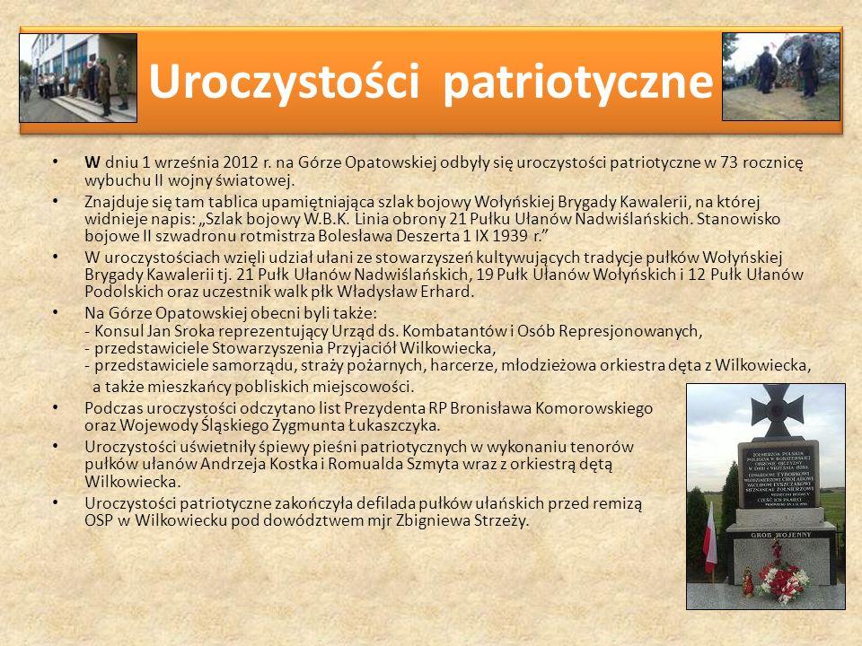 Uroczystości patriotyczne W dniu 1 września 2012 r. na Górze Opatowskiej odbyły się uroczystości patriotyczne w 73 rocznicę wybuchu II wojny światowej