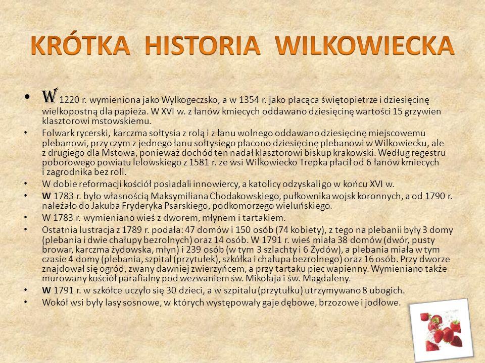 W 1220 r. wymieniona jako Wylkogeczsko, a w 1354 r. jako płacąca świętopietrze i dziesięcinę wielkopostną dla papieża. W XVI w. z łanów kmiecych oddaw