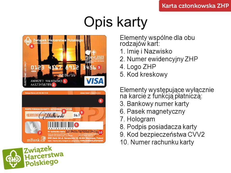 Opis karty Elementy wspólne dla obu rodzajów kart: 1. Imię i Nazwisko 2. Numer ewidencyjny ZHP 4. Logo ZHP 5. Kod kreskowy Elementy występujące wyłącz