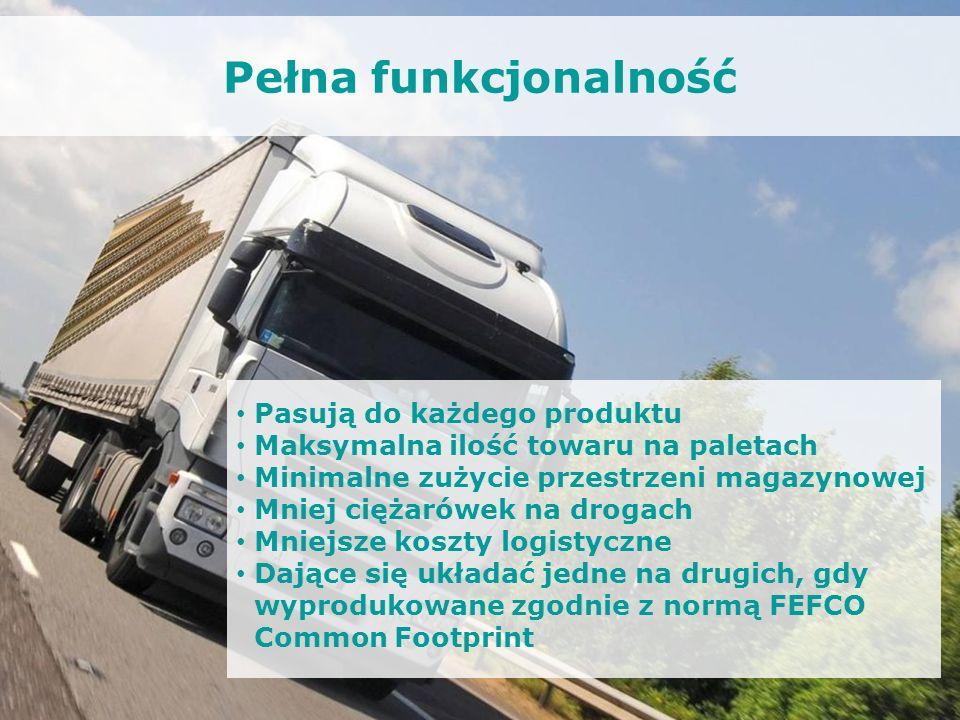 Pełna funkcjonalność Pasują do każdego produktu Maksymalna ilość towaru na paletach Minimalne zużycie przestrzeni magazynowej Mniej ciężarówek na drog