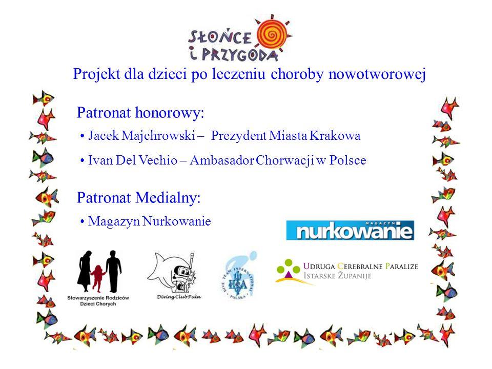Projekt dla dzieci po leczeniu choroby nowotworowej Patronat honorowy: Jacek Majchrowski – Prezydent Miasta Krakowa Ivan Del Vechio – Ambasador Chorwa