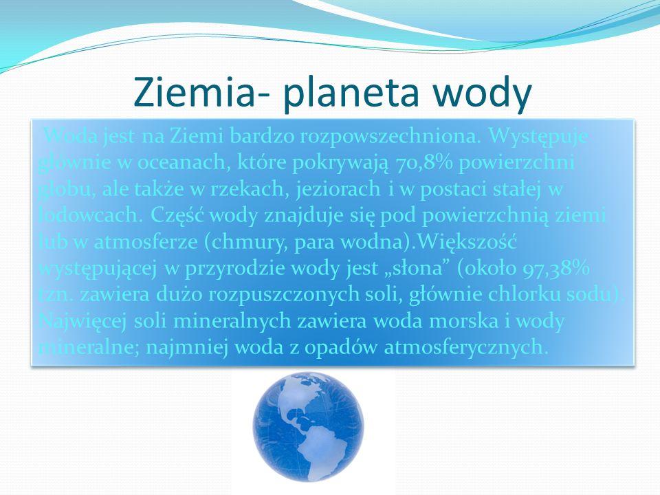 Ziemia- planeta wody Woda jest na Ziemi bardzo rozpowszechniona. Występuje głównie w oceanach, które pokrywają 70,8% powierzchni globu, ale także w rz