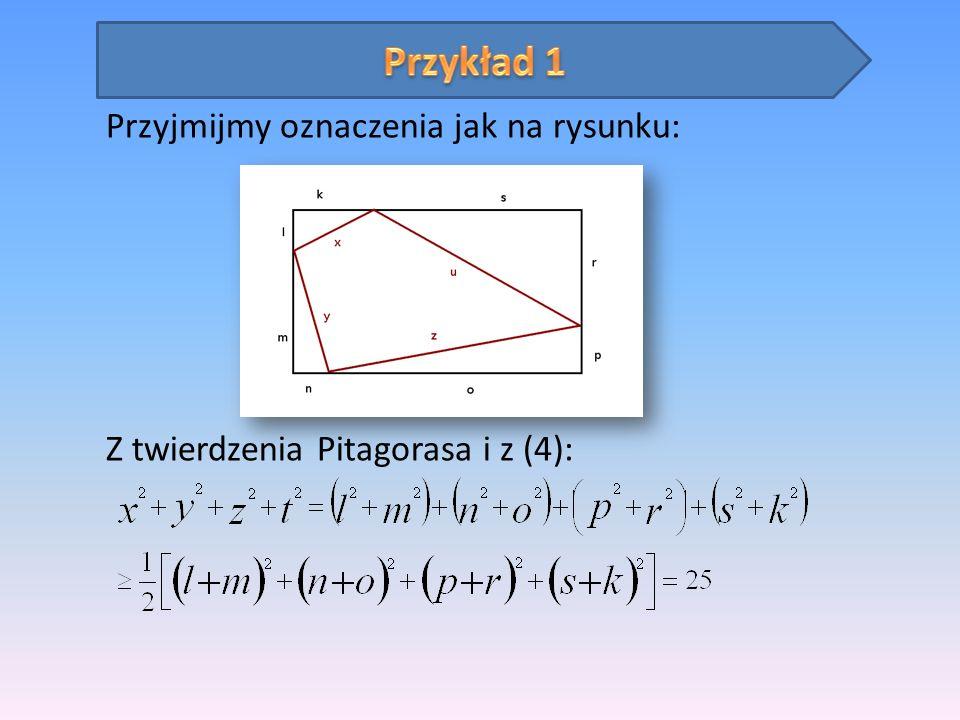 Przyjmijmy oznaczenia jak na rysunku: Z twierdzenia Pitagorasa i z (4):