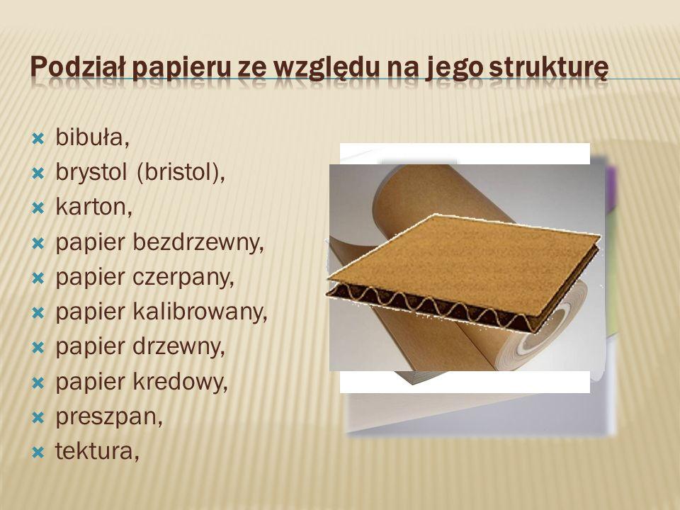 bibuła, brystol (bristol), karton, papier bezdrzewny, papier czerpany, papier kalibrowany, papier drzewny, papier kredowy, preszpan, tektura,