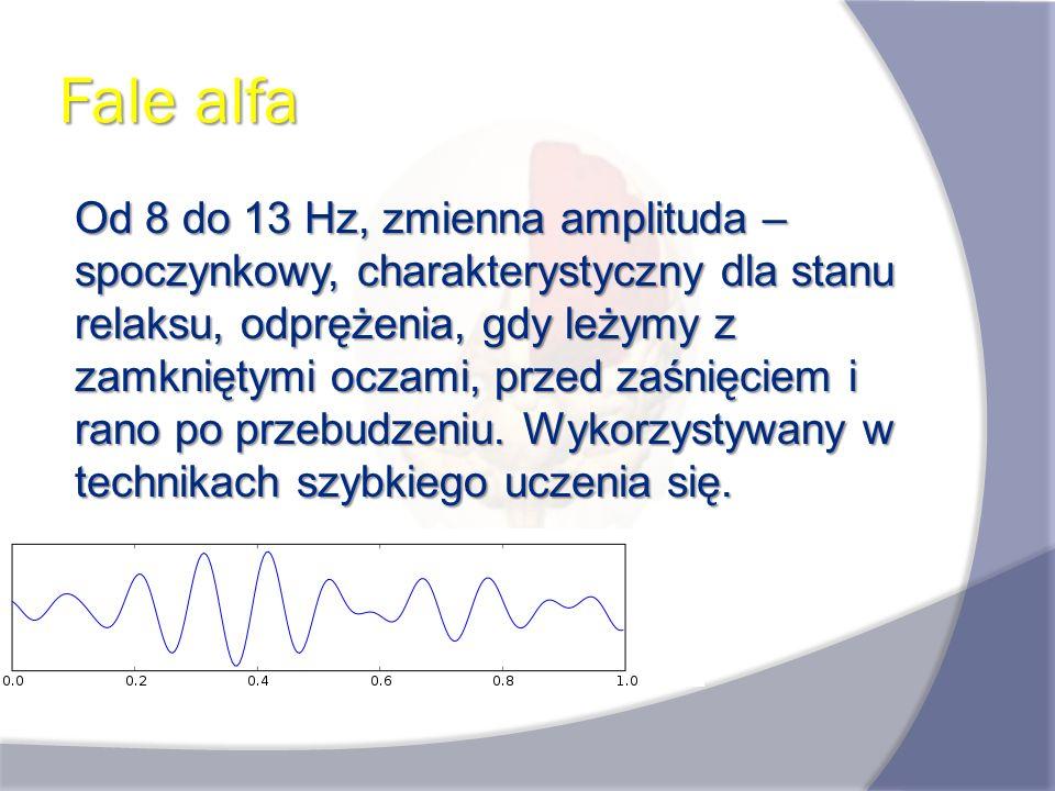 Fale alfa Od 8 do 13 Hz, zmienna amplituda – spoczynkowy, charakterystyczny dla stanu relaksu, odprężenia, gdy leżymy z zamkniętymi oczami, przed zaśn