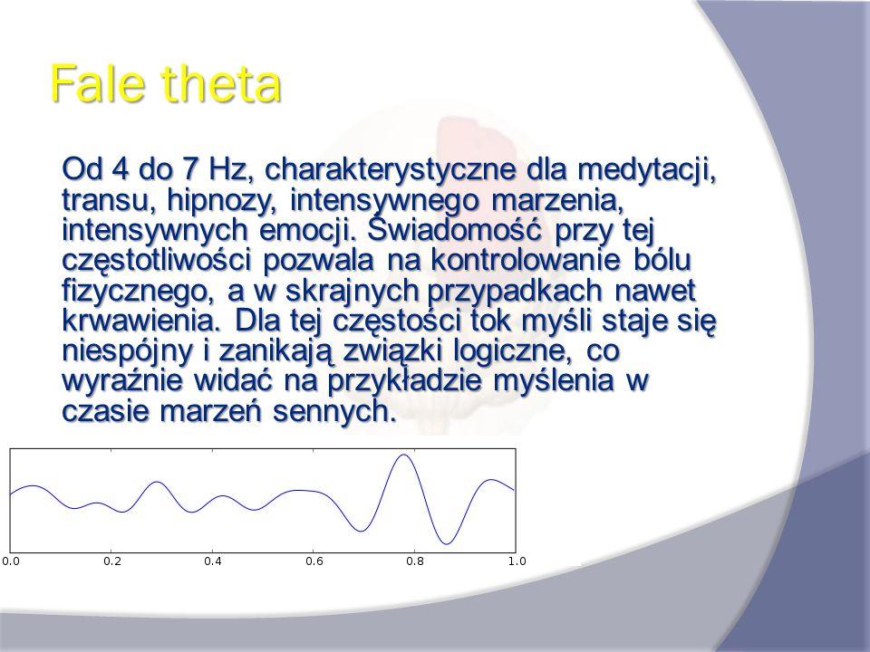 Fale theta Od 4 do 7 Hz, charakterystyczne dla medytacji, transu, hipnozy, intensywnego marzenia, intensywnych emocji. Świadomość przy tej częstotliwo