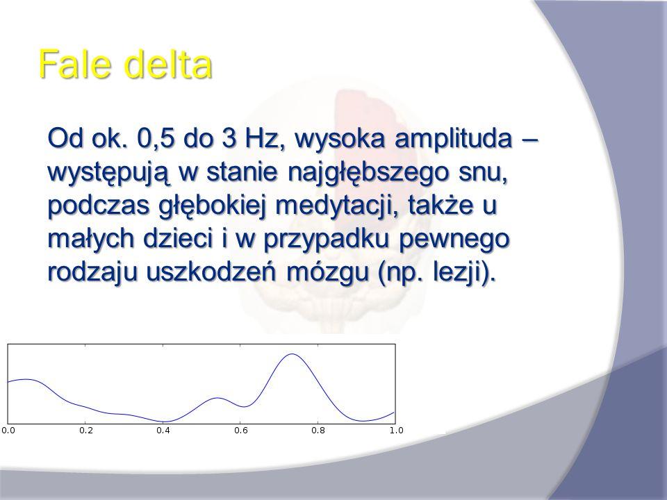 Fale delta Od ok. 0,5 do 3 Hz, wysoka amplituda – występują w stanie najgłębszego snu, podczas głębokiej medytacji, także u małych dzieci i w przypadk
